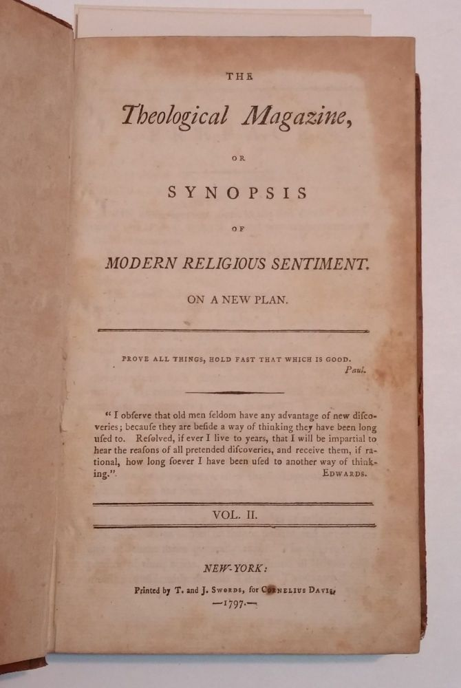 The Theological Magazine, Or Synopsis of Modern Religious Sentiment. On A New Plan. Vol. 2.