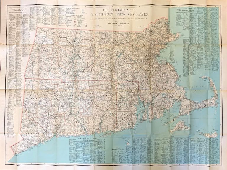The Official Map Of New England Comprising Massachusetts, Connecticut And Rhode Island. Topographer L. V. Crocker.