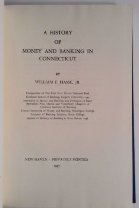 A History Of Money And Banking In Connecticut