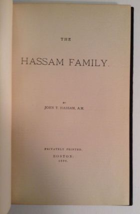 Genealogies. The Hassam Family. The Hilton Family. The Cheever Family.
