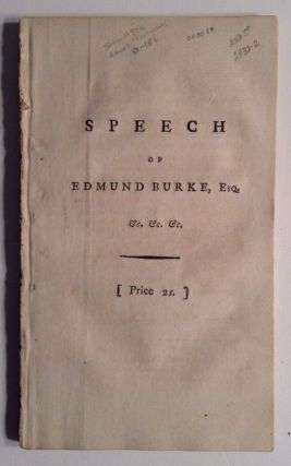 Speech of Edmund Burke, Esq....On Preseenting...A Plan For The Better Security Of The...