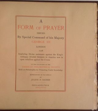 A Form Of Prayer Issued By Special Command Of His Majesty George The Third, London 1776