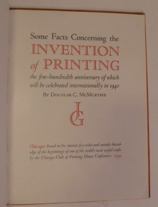 Some Facts Concerning the Invention of Printing