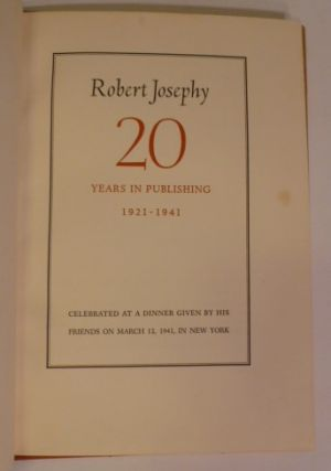 20 Years in Publishing 1921-1941