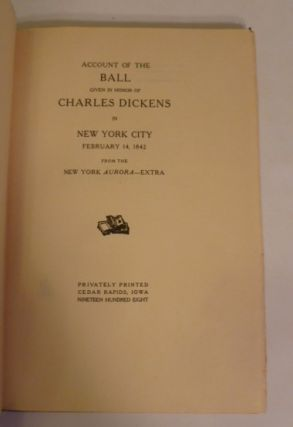 Account Of The Ball Given In Honor Of Charles Dickens