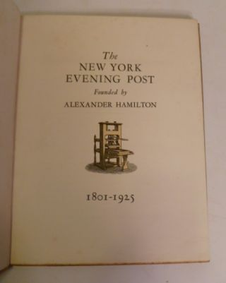 The New York Evening Post 1801-1925