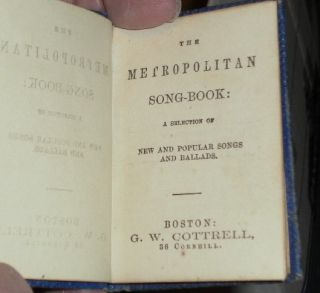 The Metropolitan Song-Book; A Selection of New and Popular Songs and Ballads.