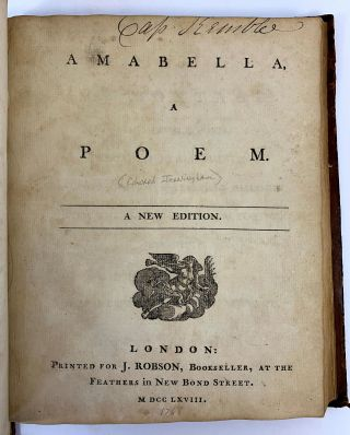 BOUND VOLUME OF SIX 18TH CENTURY POEMS BY VARIOUS AUTHOR. The Property of Captain Stephen Kemble, Later Lieutenant-Colonel Kemble, Who Was Deputy Adjutant General of the British Army in America During the Revolutionary War.