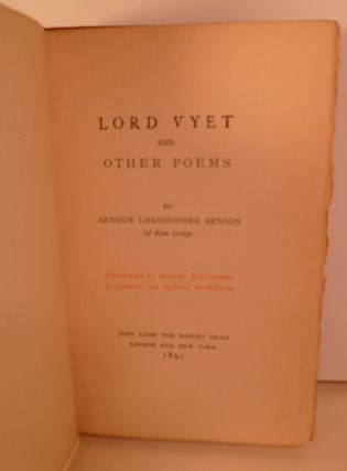 Lord Vyet And Other Poems