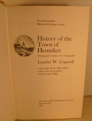 History of the Town of Henniker, Merrimack County, New Hampshire