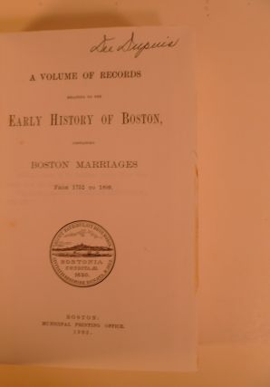 Boston Marriages from 1700-1809