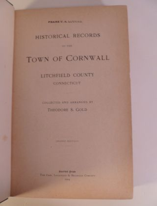 Historical Records of the Town of Cornwall Litchfield County