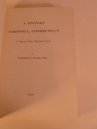A History of Cornwall, Connecticut. A Typical New England. Town
