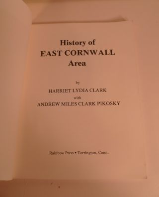 History of East Cornwall Area. (with) Supplement of the History of East Cornwall