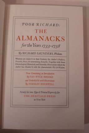 POOR RICHARD: THE ALMANACKS, For Years 1733-1758