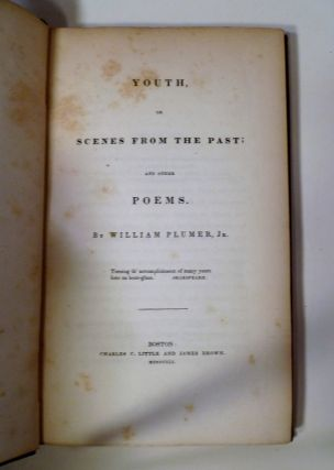 PLUMERS POEMS. YOUTH or SCENES FROM THE PAST; and Other POEMS.