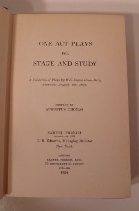 ONE ACT PLAYS FOR STAGE AND STUDY
