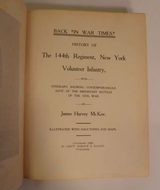 CIVIL WAR RECORD of the 144th REGT. N.Y VOLUNTEER INFANTRY
